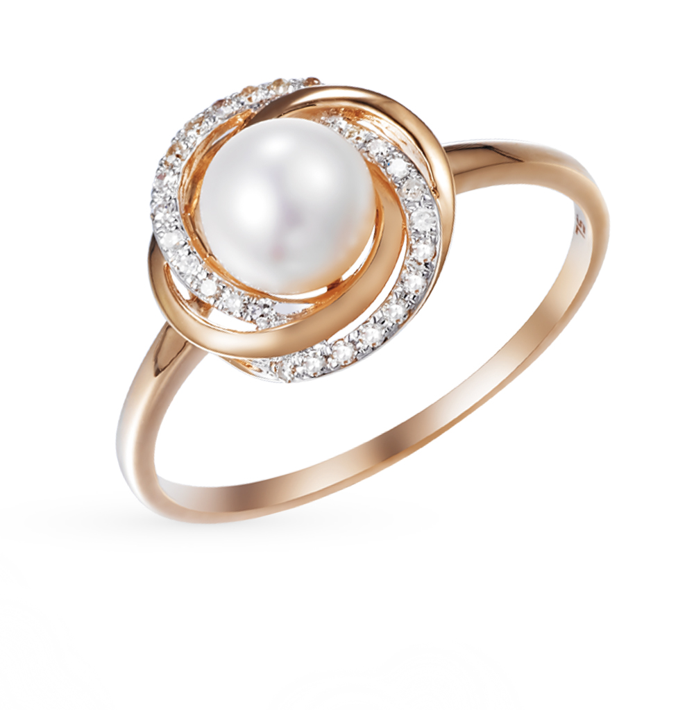 золотое кольцо с жемчугом и бриллиантами