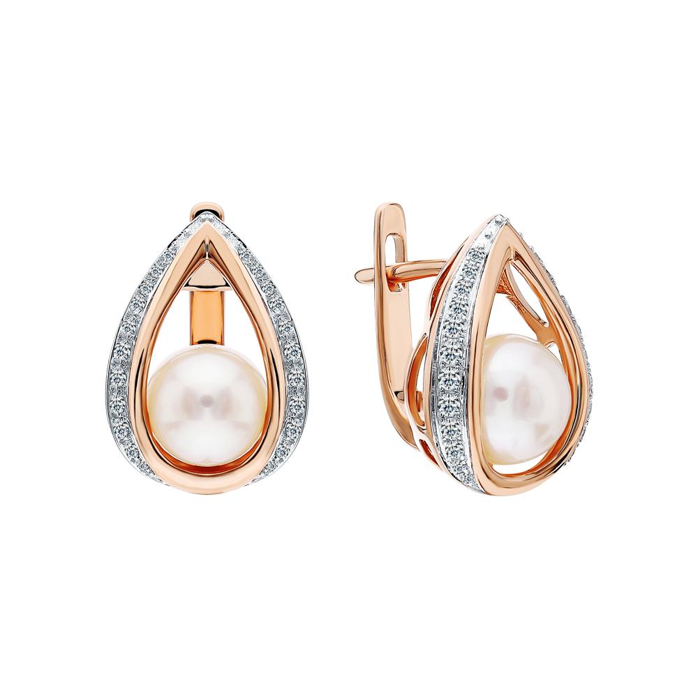 Золотые серьги с жемчугами культивированными и бриллиантами в Екатеринбурге