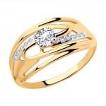 Фото «Золотое кольцо с фианитами SOKOLOV 018077»