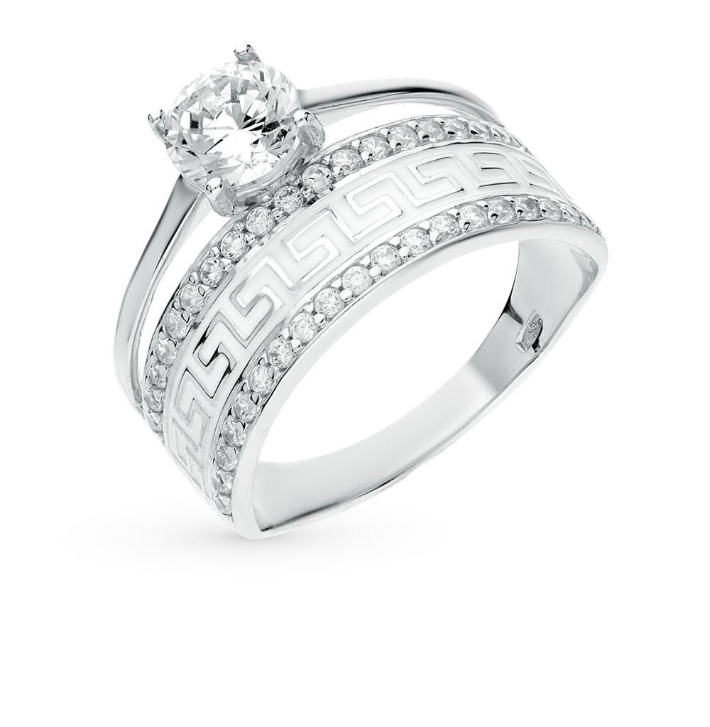 серебряное кольцо с фианитами и эмалью SOKOLOV 94011132