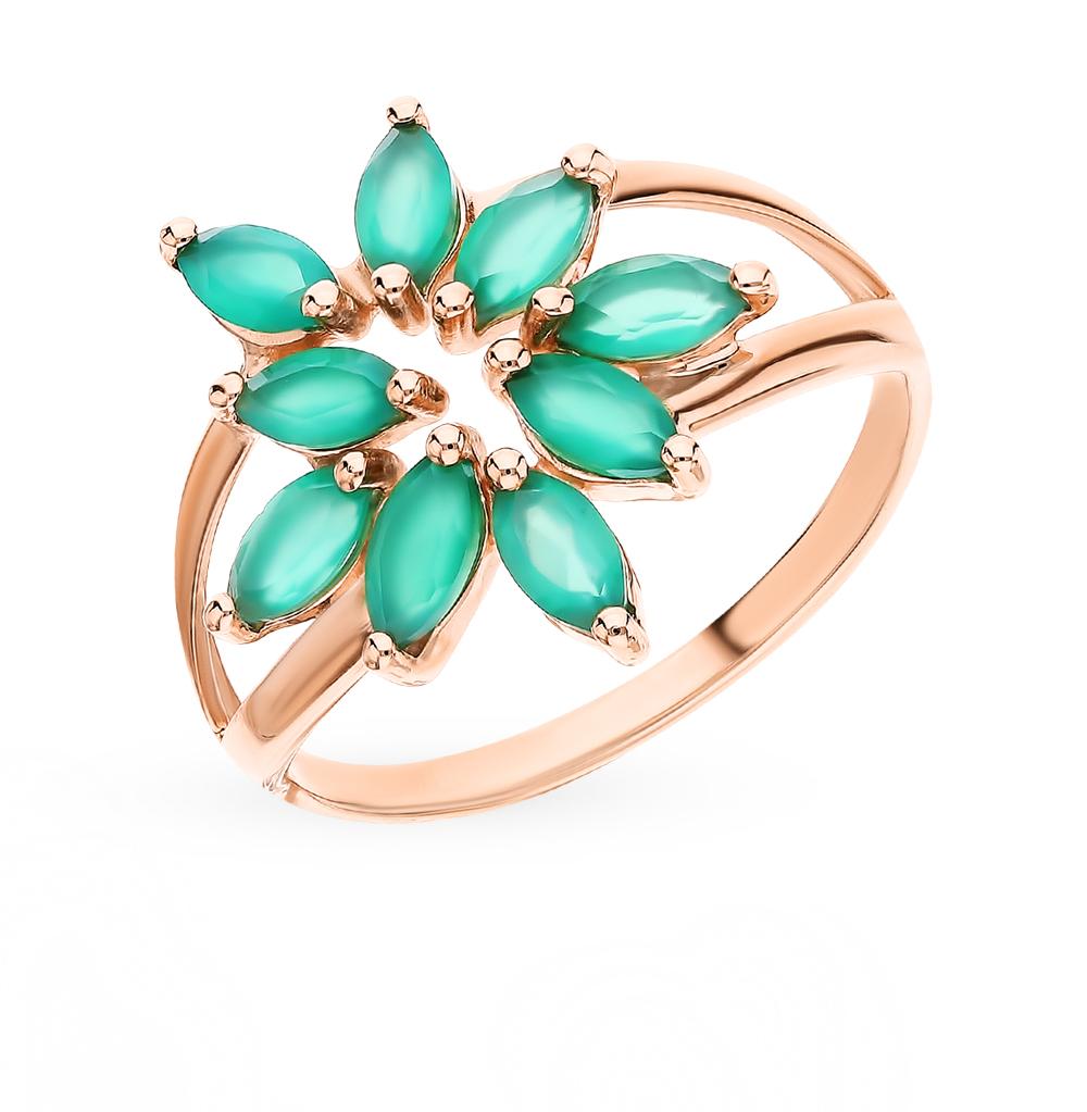Фото «Золотое кольцо с фианитами и агатом SOKOLOV 715688*»