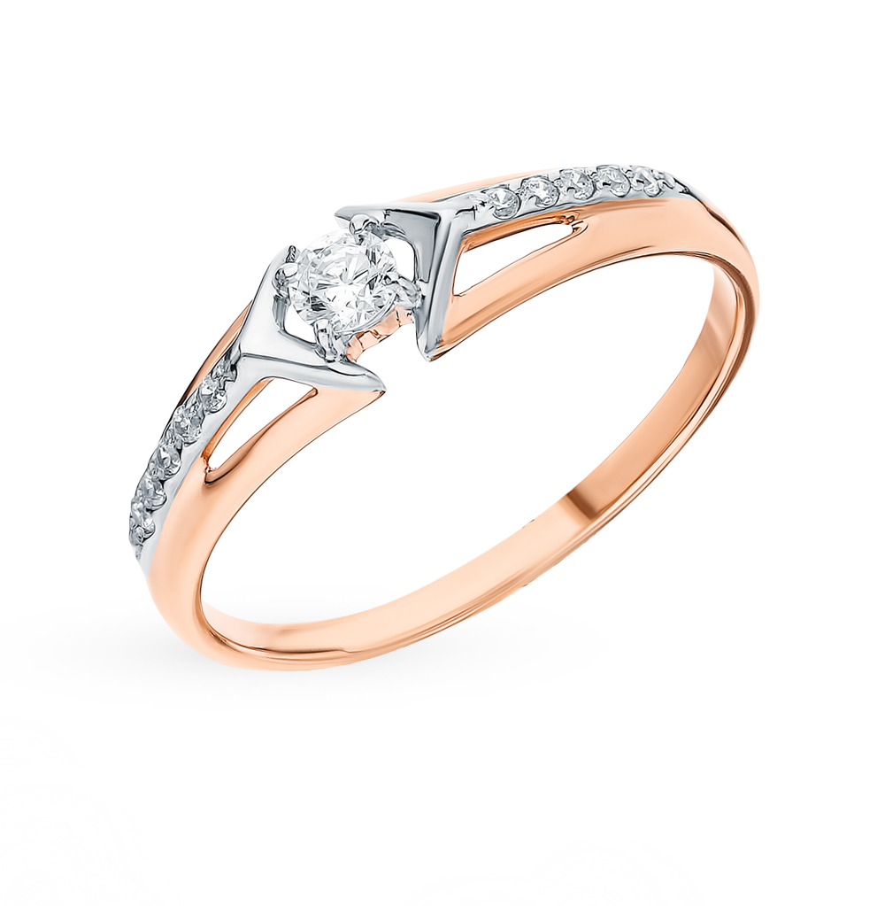 Фото «Золотое кольцо с фианитами SOKOLOV 018094*»