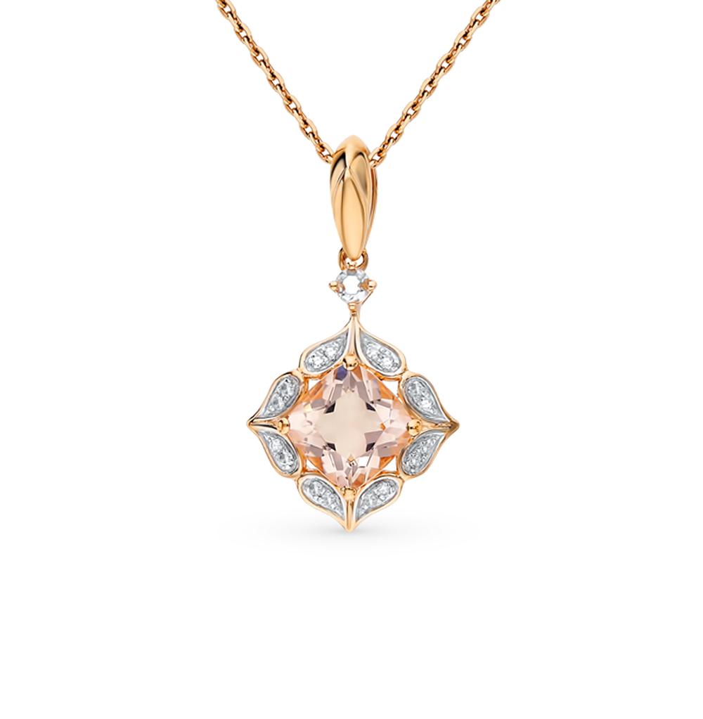 золотая подвеска с морганитами и бриллиантами