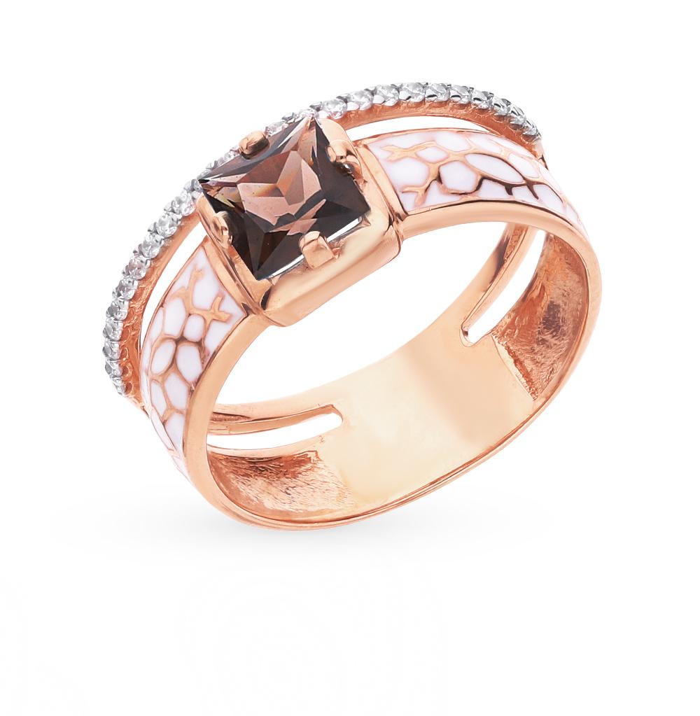 Золотое кольцо с раухтопазами, фианитами и эмалью в Екатеринбурге