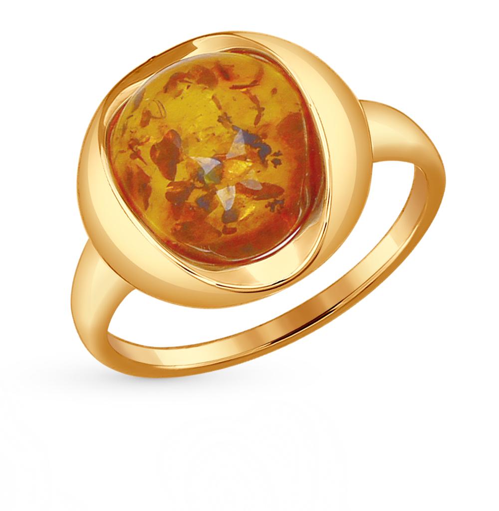 Фото «Золотое кольцо с янтарем SOKOLOV 714412*»