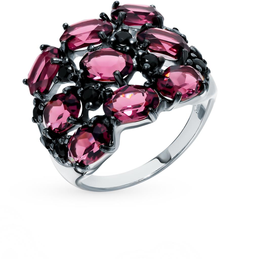 серебряное кольцо с фианитами и кристаллами swarovski SOKOLOV 94012683