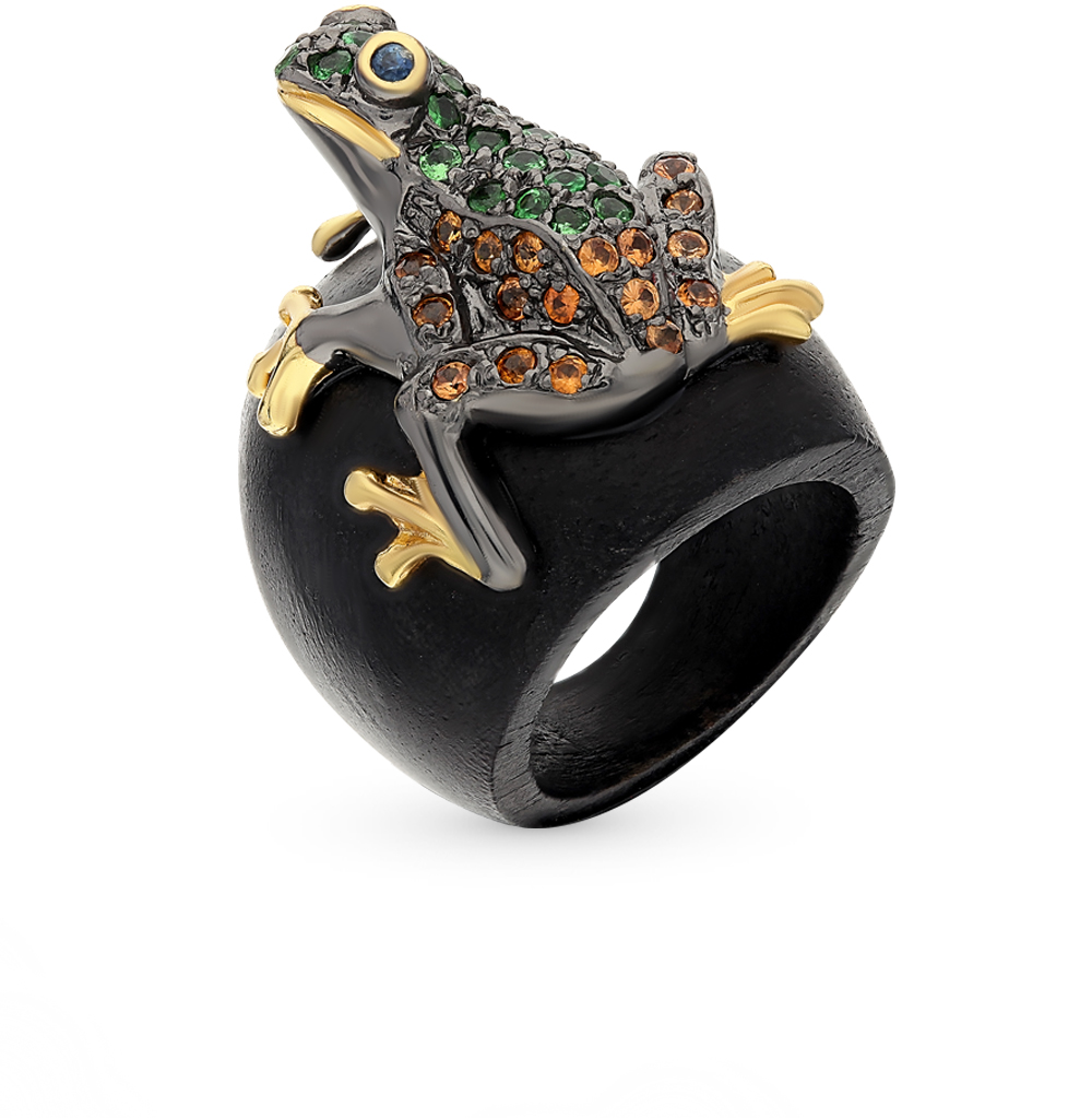 Фото «Деревянное кольцо с гранатом и сапфирами»