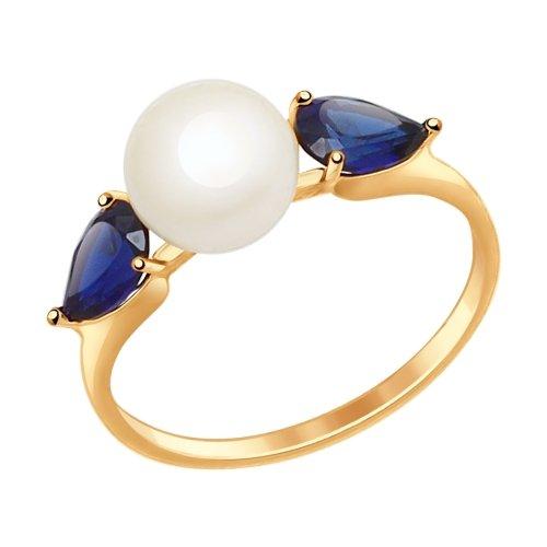 Фото «Золотое кольцо с корундом и жемчугом SOKOLOV 791035*»