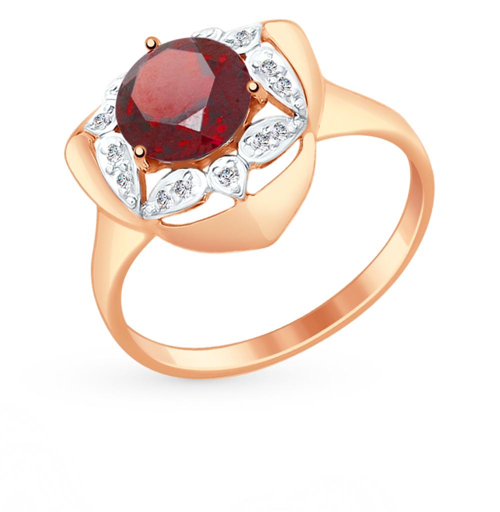золотое кольцо с фианитами и гранатом SOKOLOV 714879*