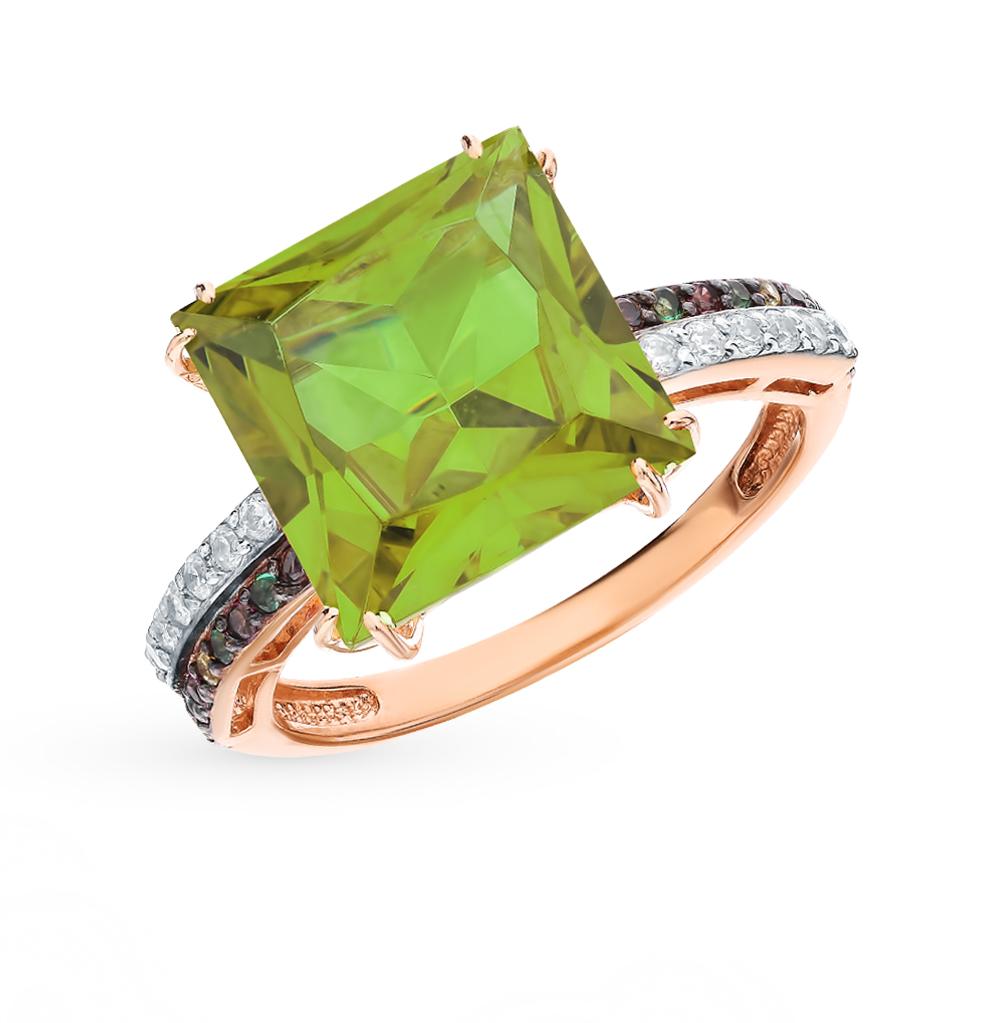 Фото «Золотое кольцо с султанитом, фианитами и наношпинелями»