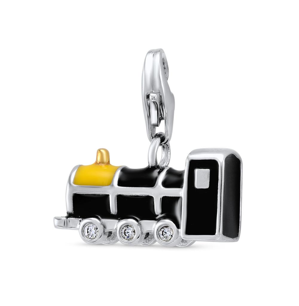 Фото «серебряная подвеска - брелок с фианитами и эмалью»