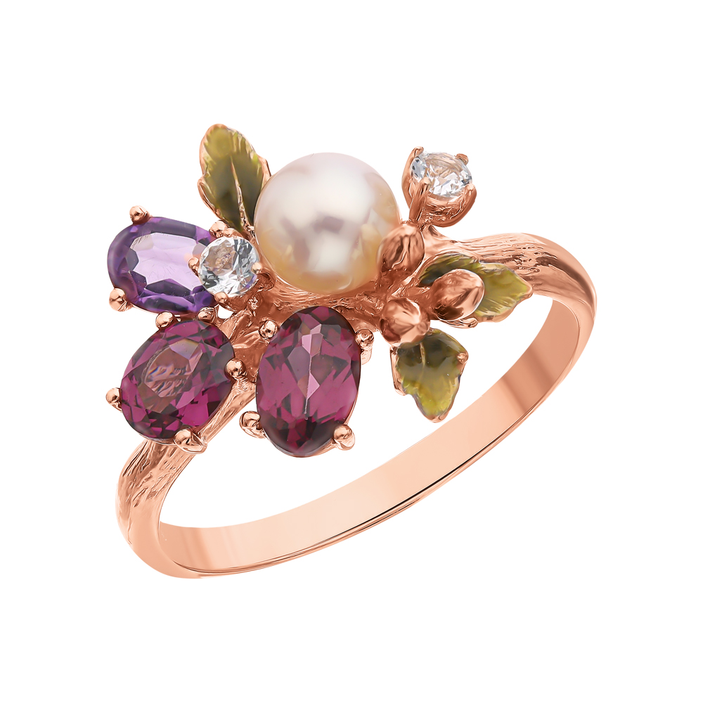 Фото «Серебряное кольцо с аметистом, топазами, гранатом и жемчугами культивированными»