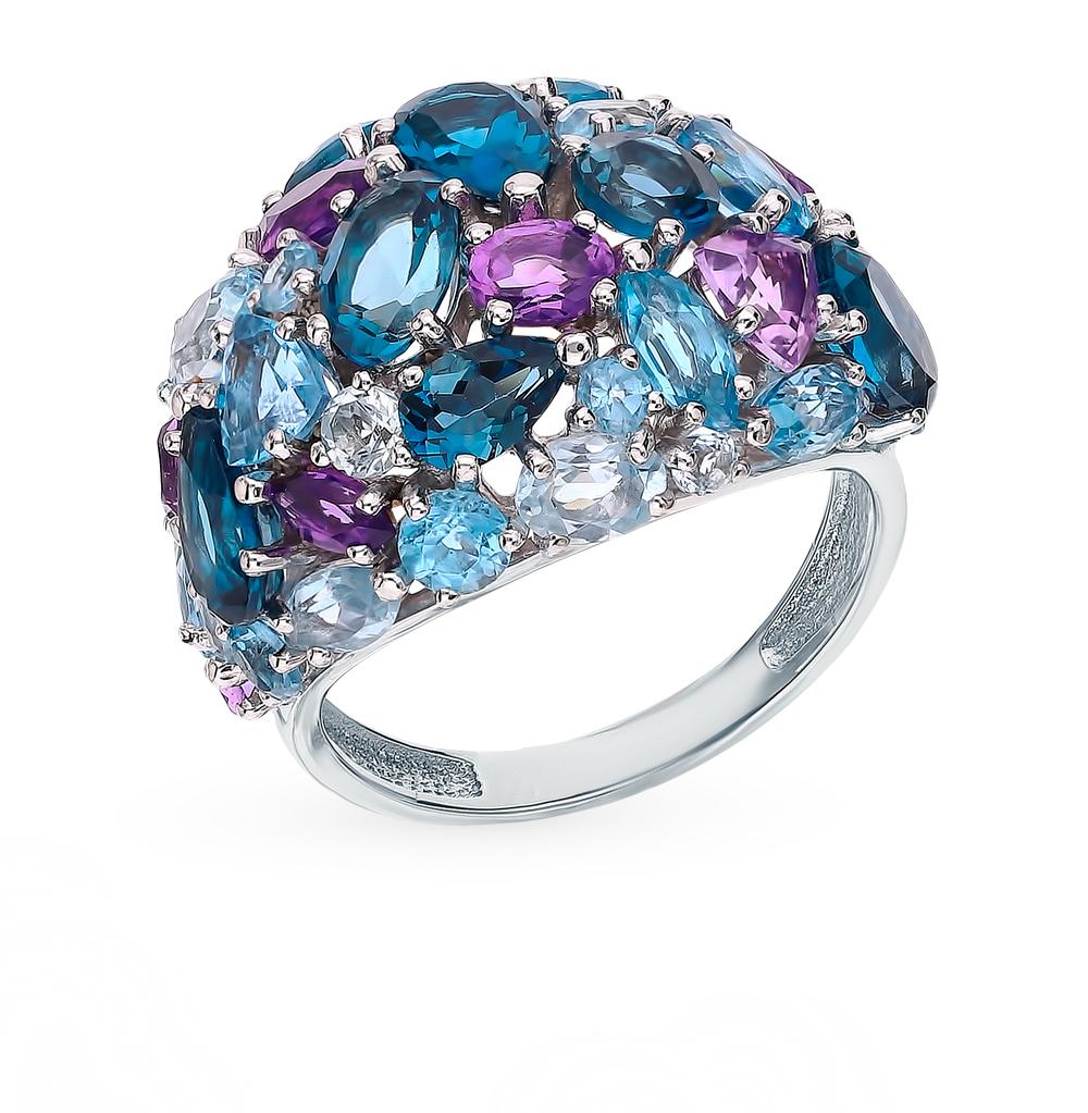 Фото «Золотое кольцо с аметистом, топазами, топазами swiss и лондонами топазами»