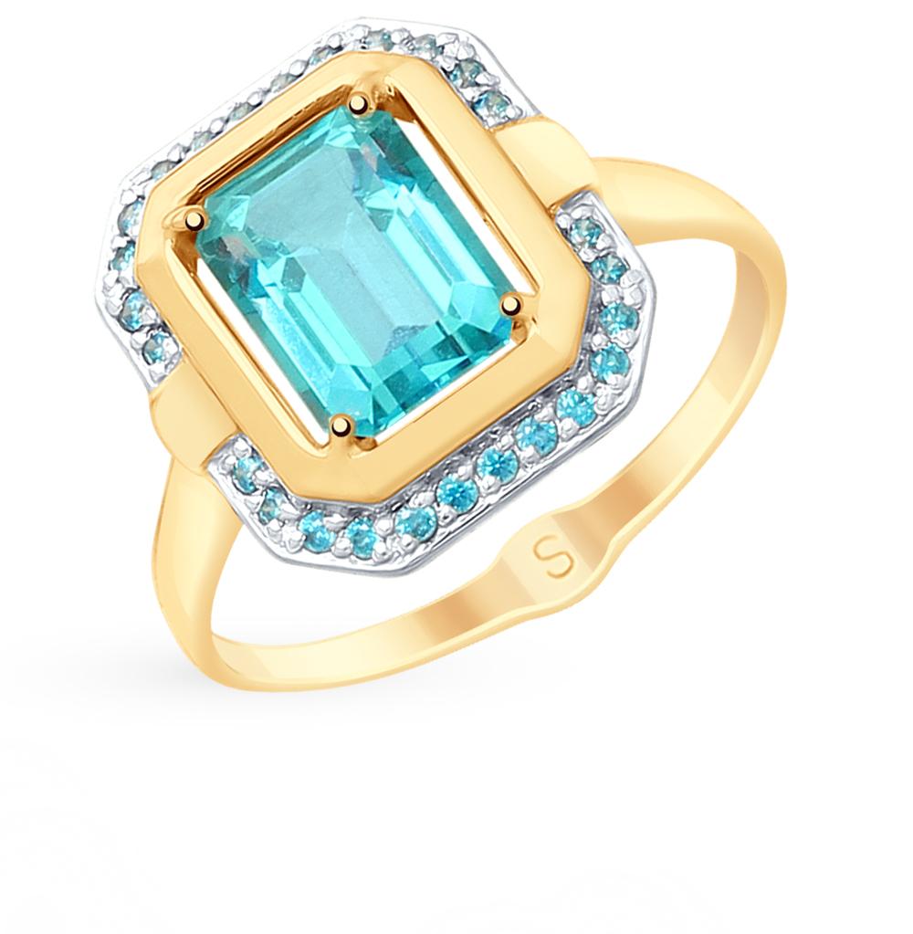 золотое кольцо с топазами и фианитами SOKOLOV 715352*