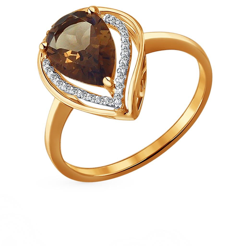 золотое кольцо с раухтопазами и фианитами SOKOLOV 713931*