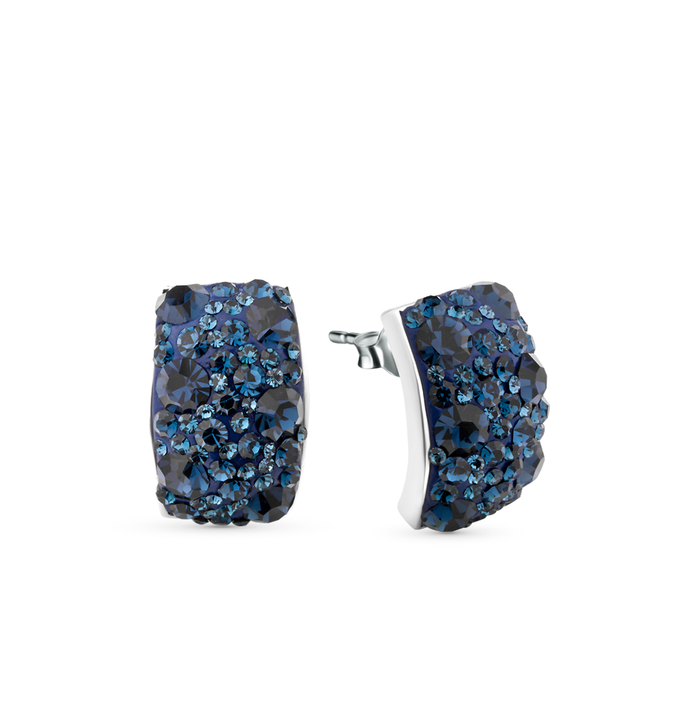 Серебряные серьги с кристаллами swarovski в Санкт-Петербурге