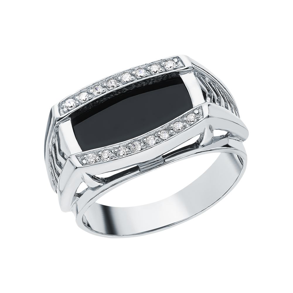 Фото «Серебряное кольцо с ониксами синтетическими»