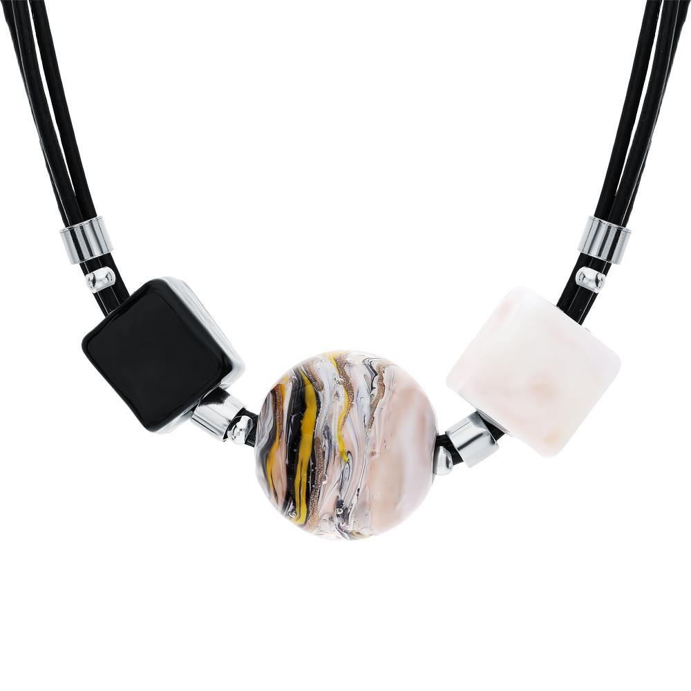 Фото «Стальное колье с муранскими стёклами»