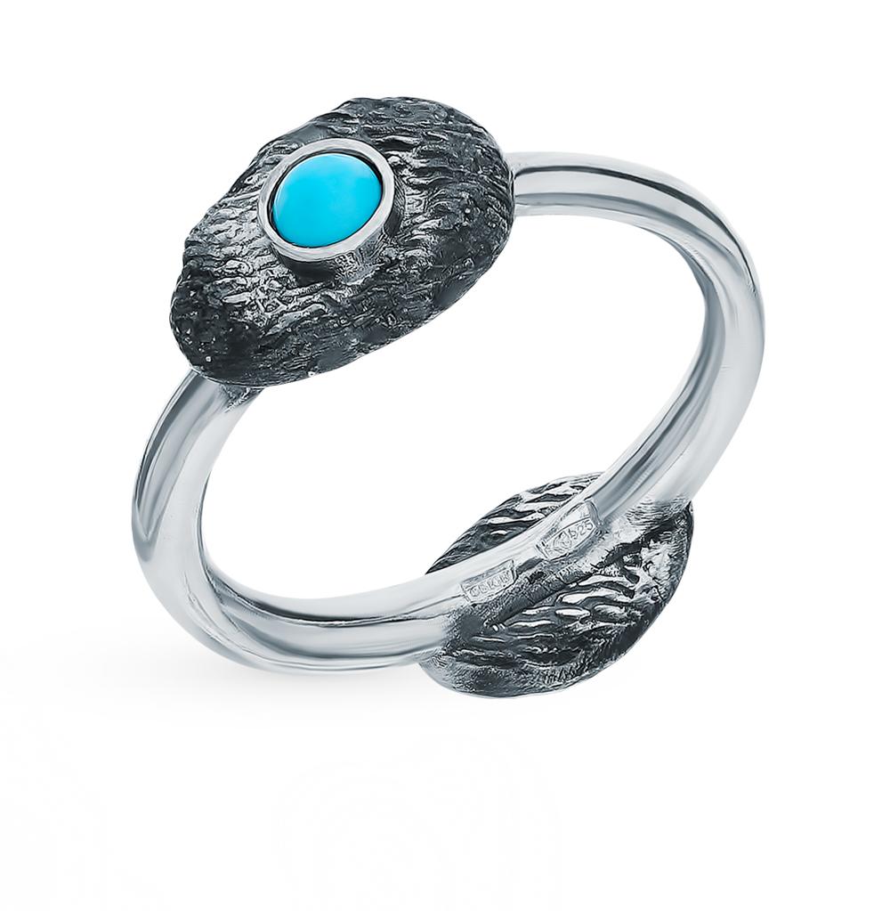 серебряное кольцо с бирюзой и кораллом