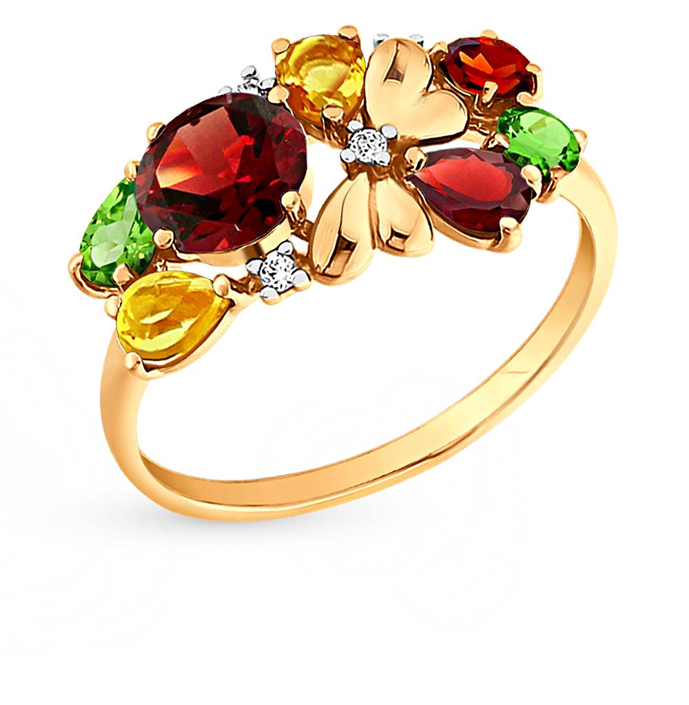 Фото «золотое кольцо с гранатом, цитринами, фианитами и хризолитом»