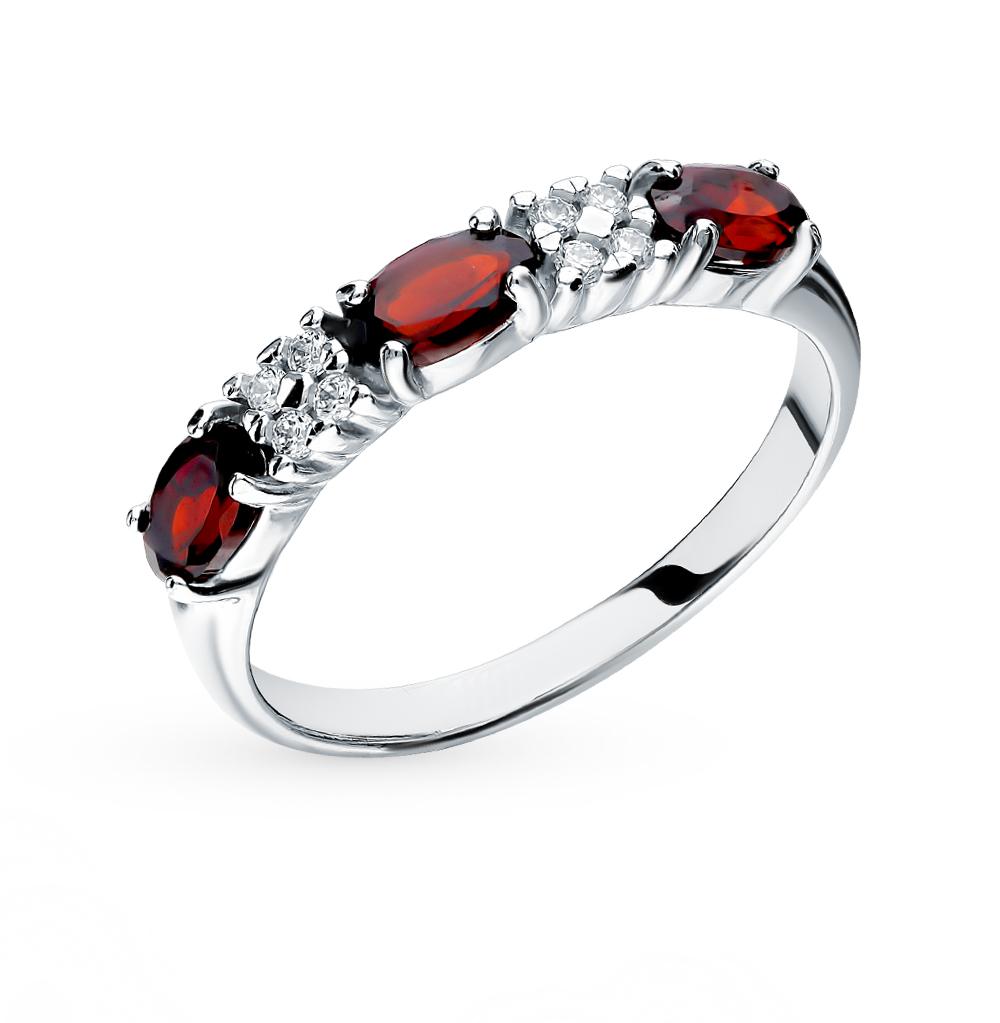серебряное кольцо с фианитами и гранатом SOKOLOV 92011281
