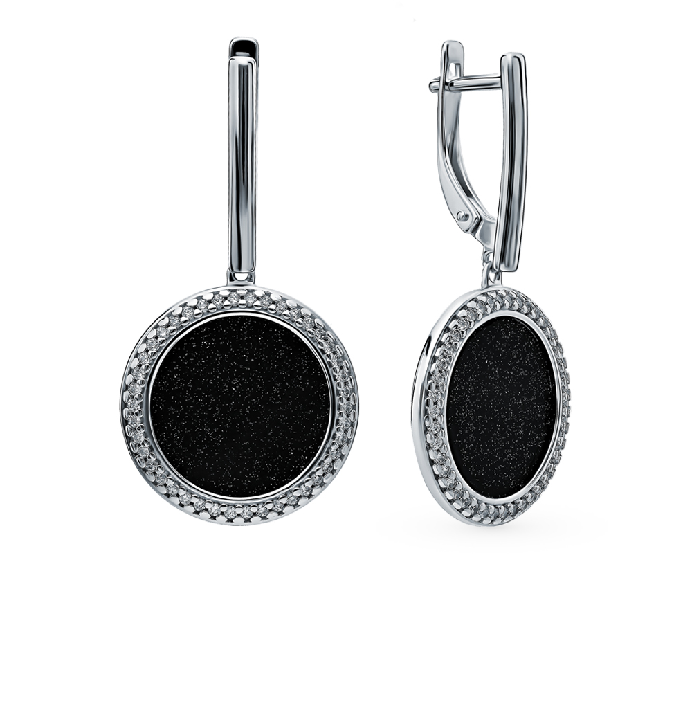 Серебряные серьги с фианитами и авантюриновыми стёклами SOKOLOV 94023582 в Екатеринбурге