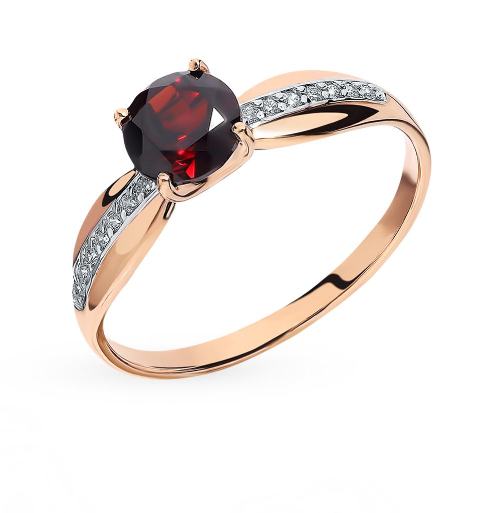 золотое кольцо с фианитами и гранатом SOKOLOV 715948*