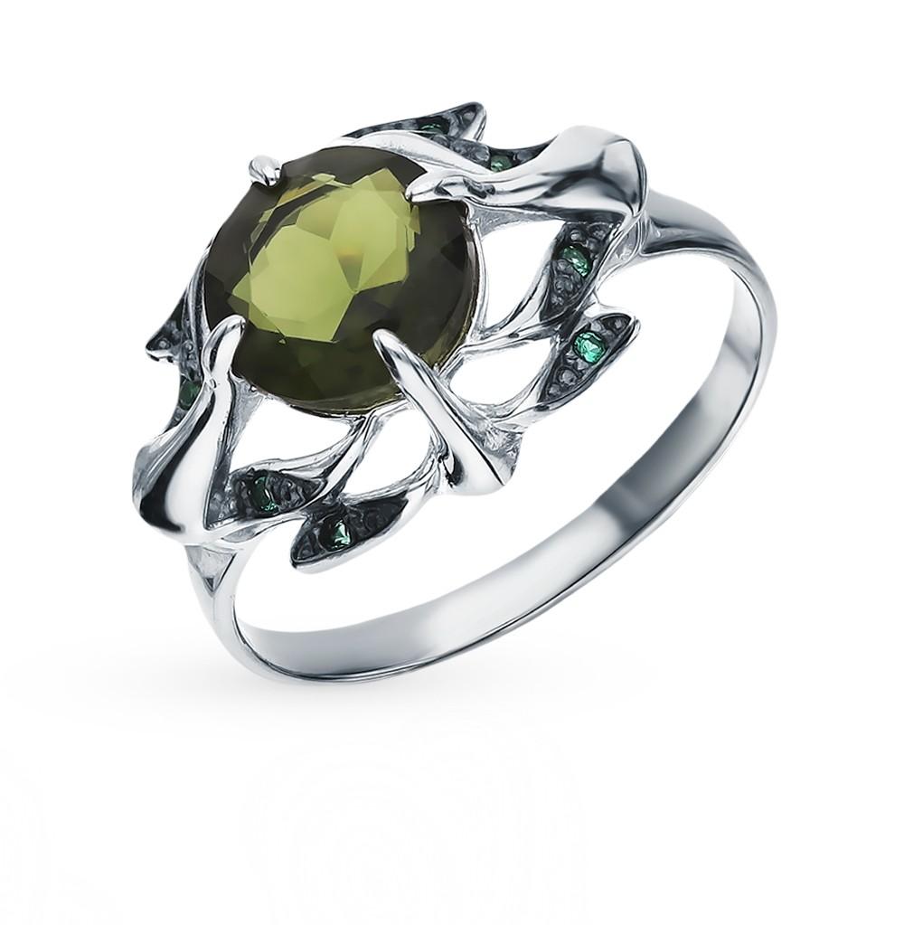 Серебряное кольцо с турмалинами и фианитами в Санкт-Петербурге