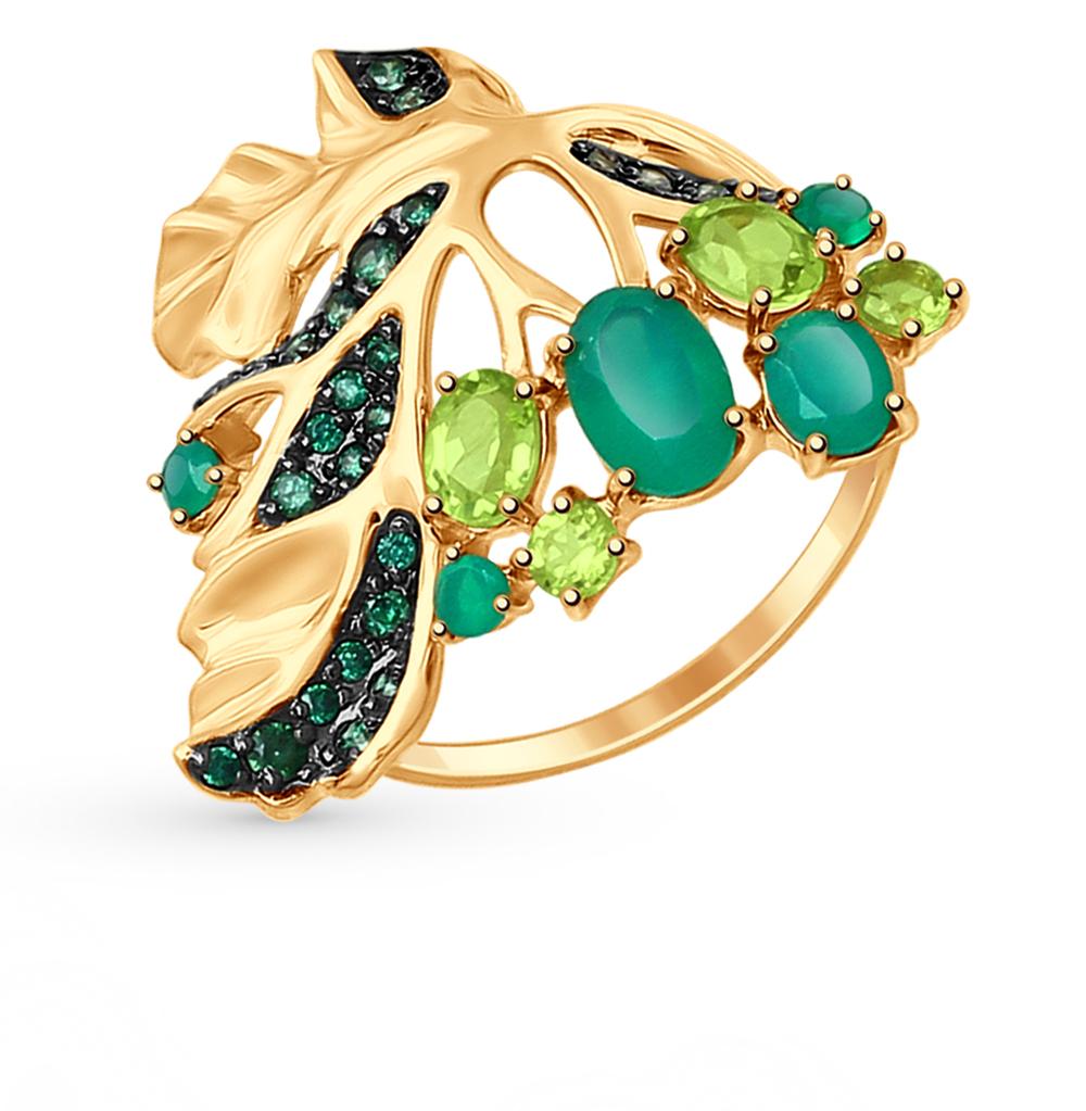 золотое кольцо с хризолитом, фианитами и агатом SOKOLOV 714716*