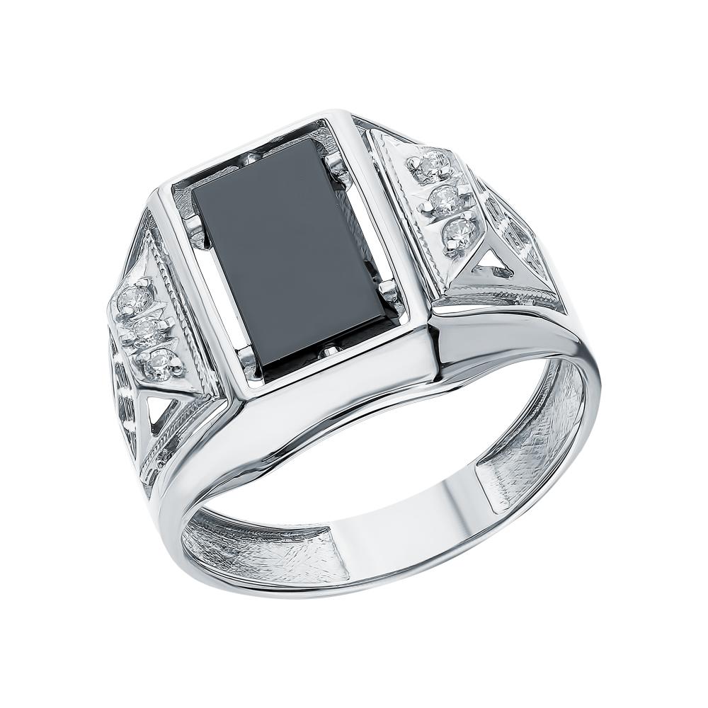 Серебряное кольцо с ониксом и кубическими циркониями в Санкт-Петербурге