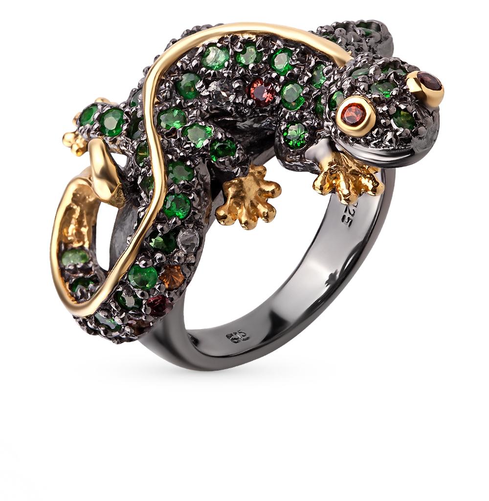 Фото «серебряное кольцо с цаворитами, гранатом, топазами и сапфирами»