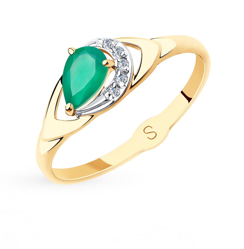 Золотое кольцо с фианитами и агатом SOKOLOV 715624* в Екатеринбурге