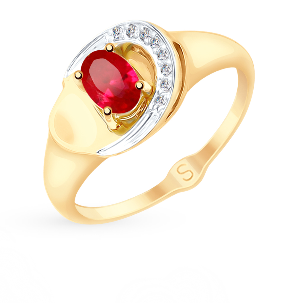 Фото «Золотое кольцо с рубинами, корундом и фианитами SOKOLOV 715191*»