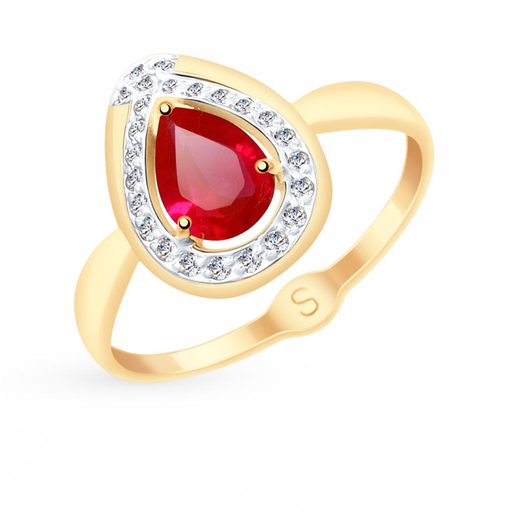 Золотое кольцо с рубинами, корундом и фианитами SOKOLOV 715147* в Санкт-Петербурге