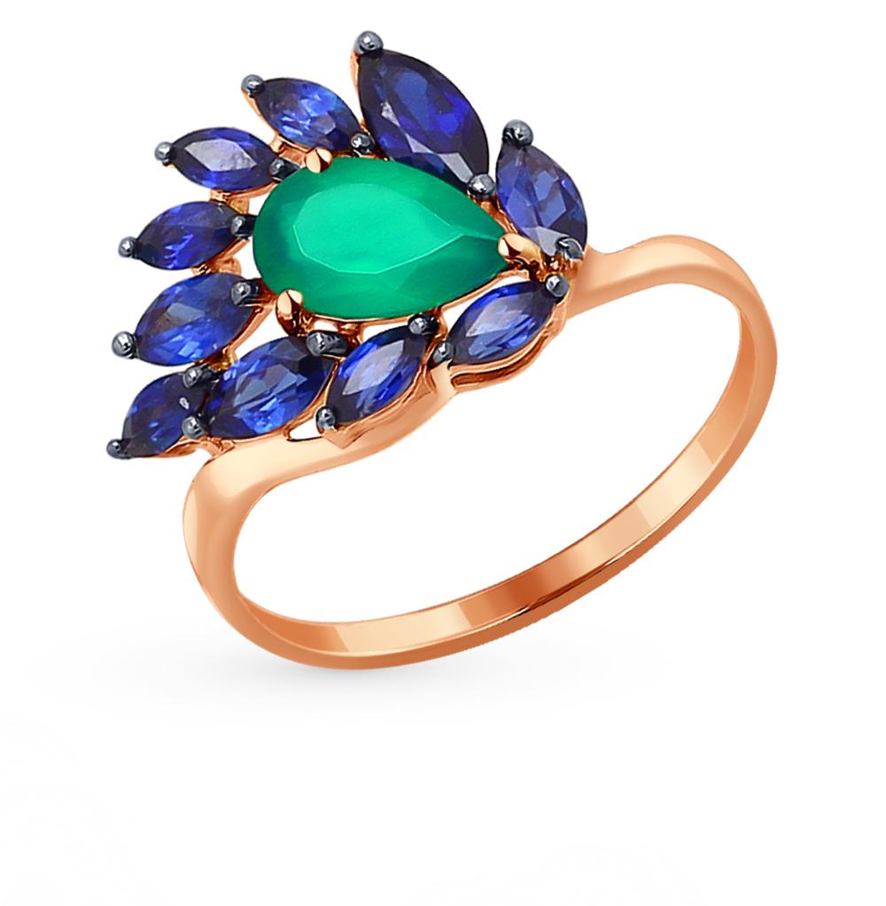 золотое кольцо с корундом и агатом SOKOLOV 714152*