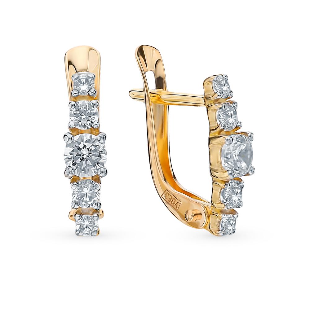 золотые серьги с фианитами SOKOLOV 027452-2*