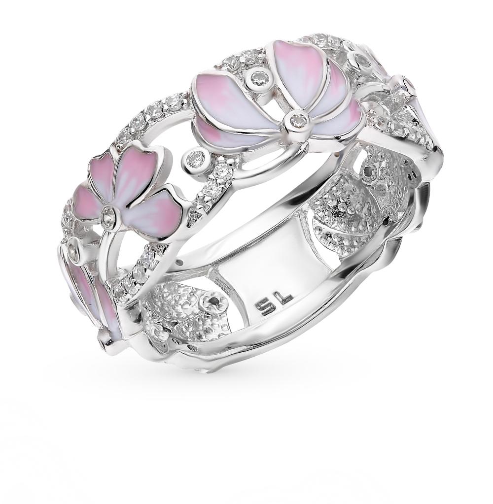 Серебряное кольцо с фианитами и эмалью в Екатеринбурге
