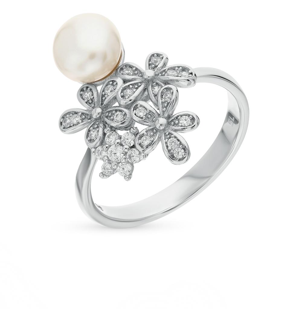 серебряное кольцо с фианитами и жемчугом