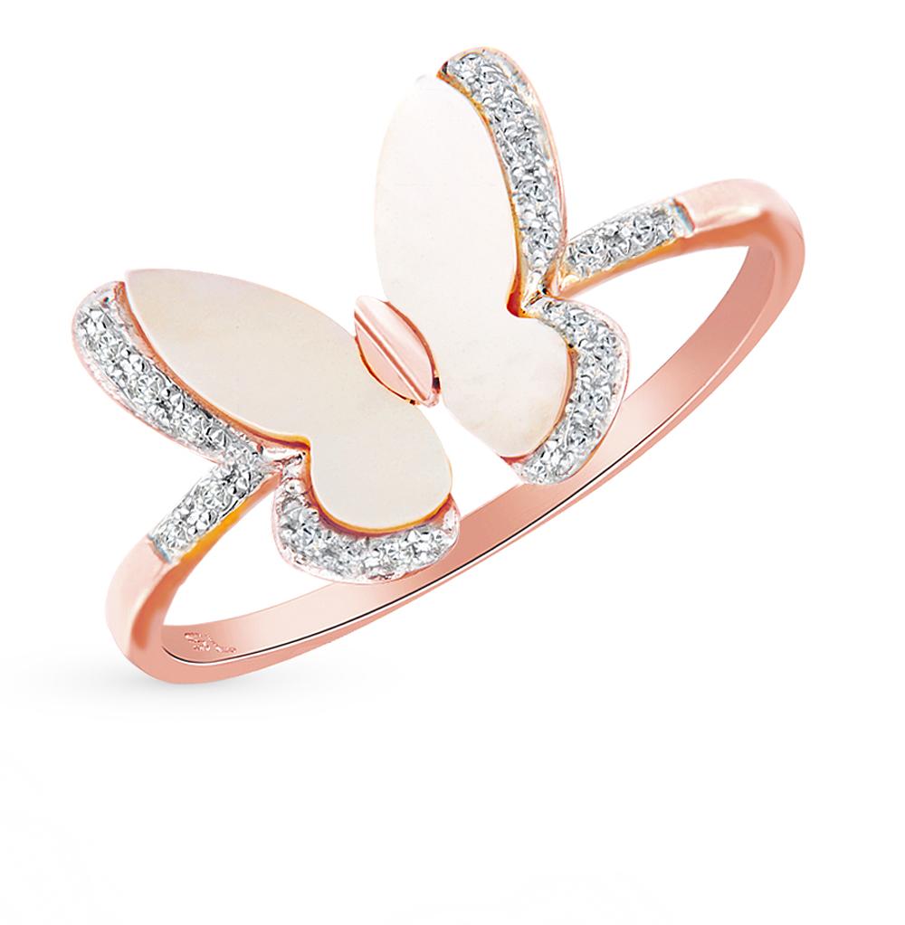 Фото «Золотое кольцо с перламутром и бриллиантами»