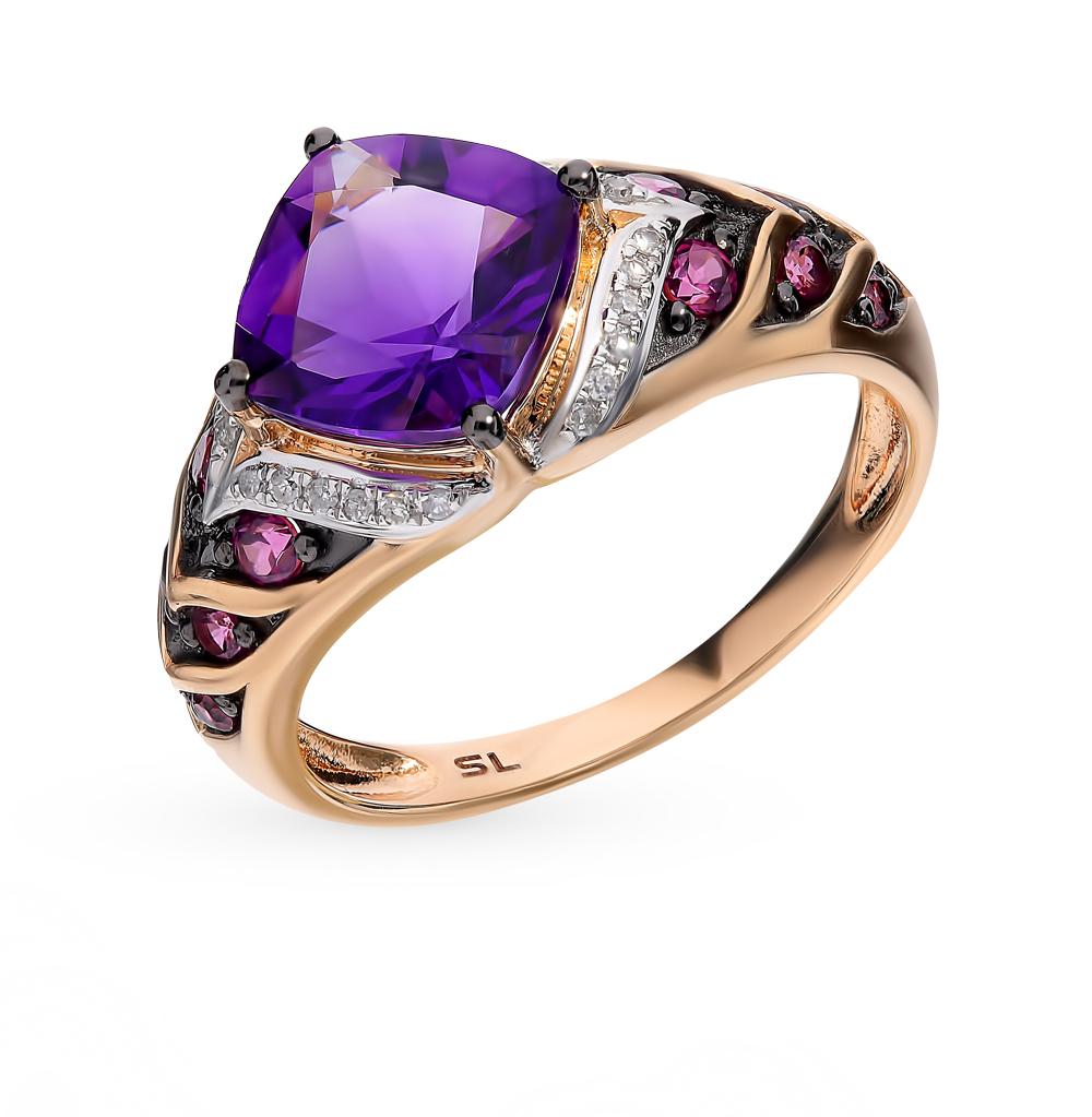 золотое кольцо с родолитами, аметистом и бриллиантами