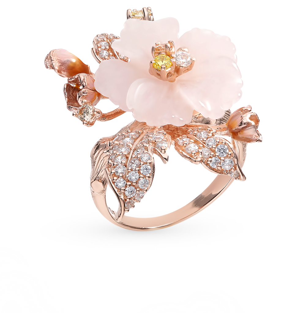 Фото «Серебряное кольцо с кварцем, фианитами и эмалью»