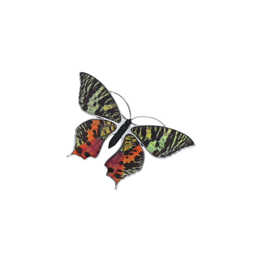 Серебряная брошь с фианитами, эмалью и крыльями бабочками в Санкт-Петербурге