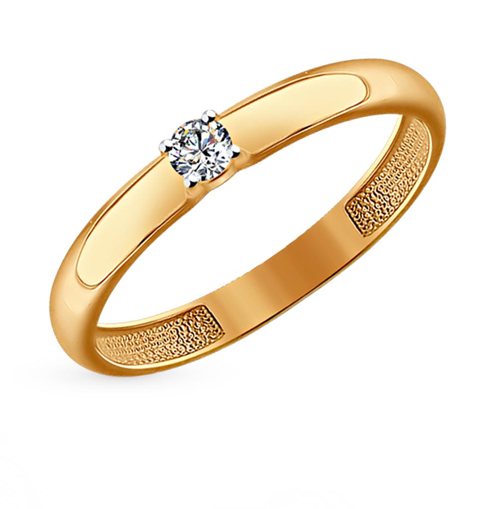 золотое кольцо с фианитами SOKOLOV 81010221*