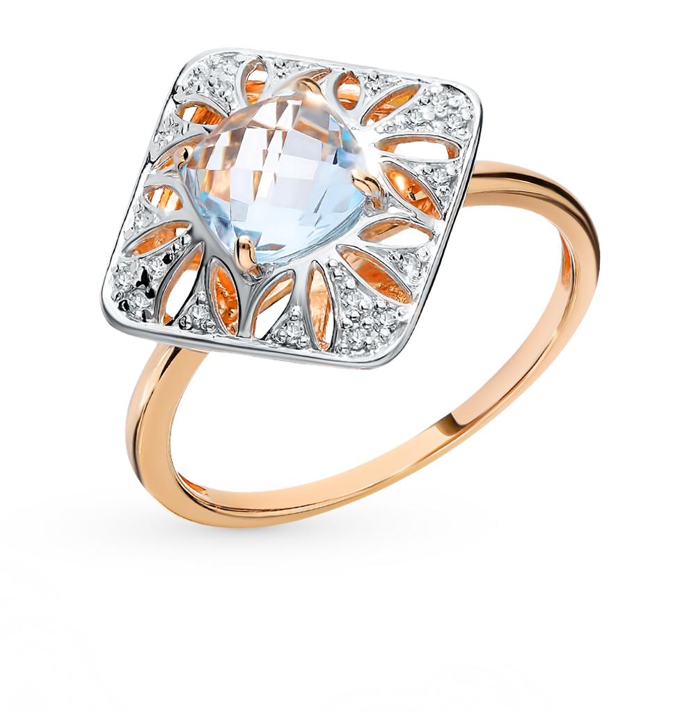 Золотое кольцо с топазами и бриллиантами в Екатеринбурге