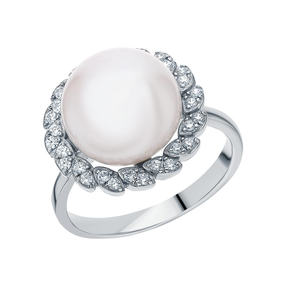Фото «Серебряное кольцо с жемчугом и кубическими циркониями»