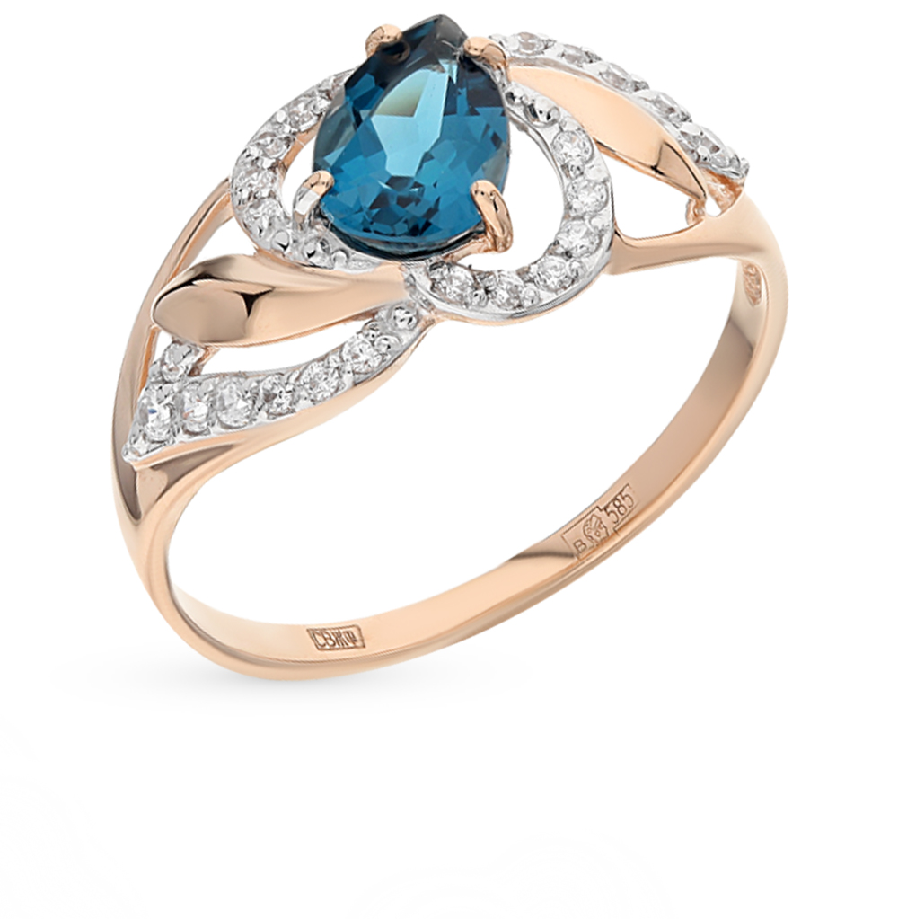 золотое кольцо с топазами и фианитами SOKOLOV 714458*