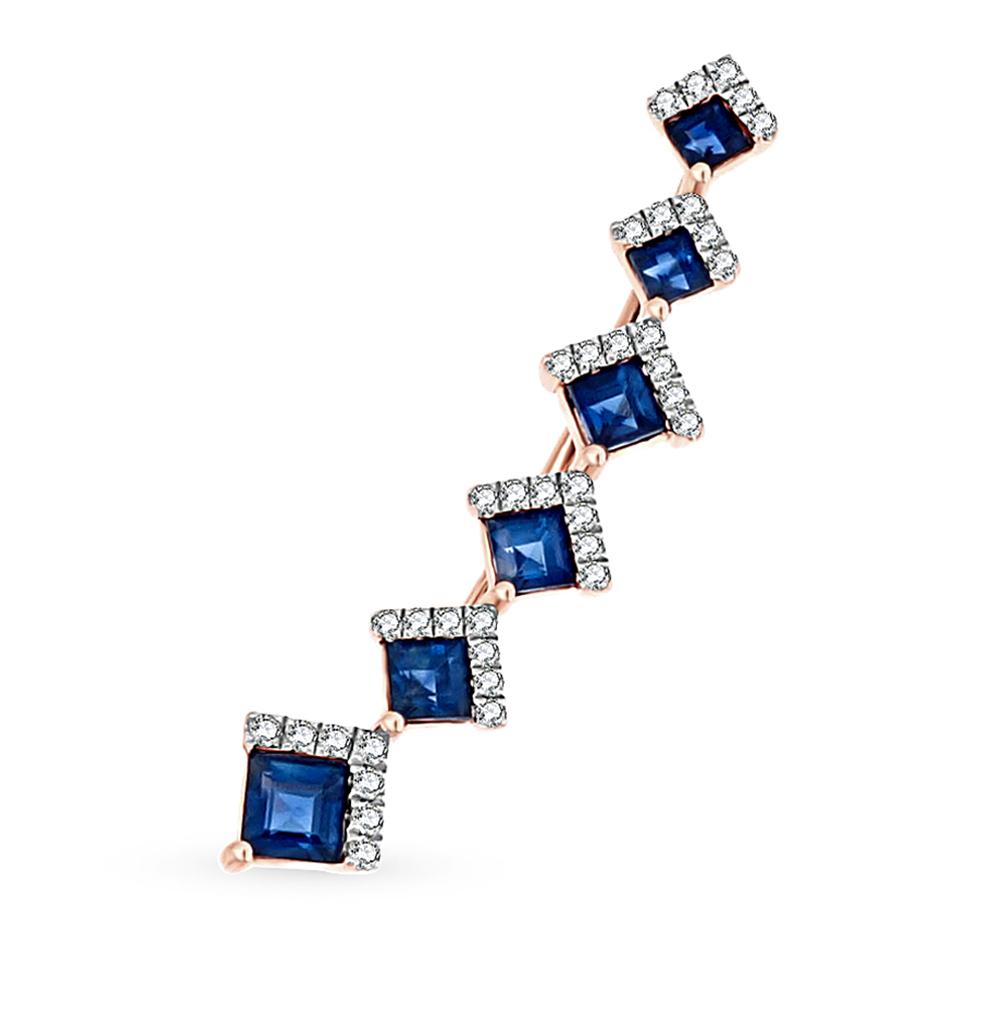 Фото «золотая серьга с сапфирами и бриллиантами»