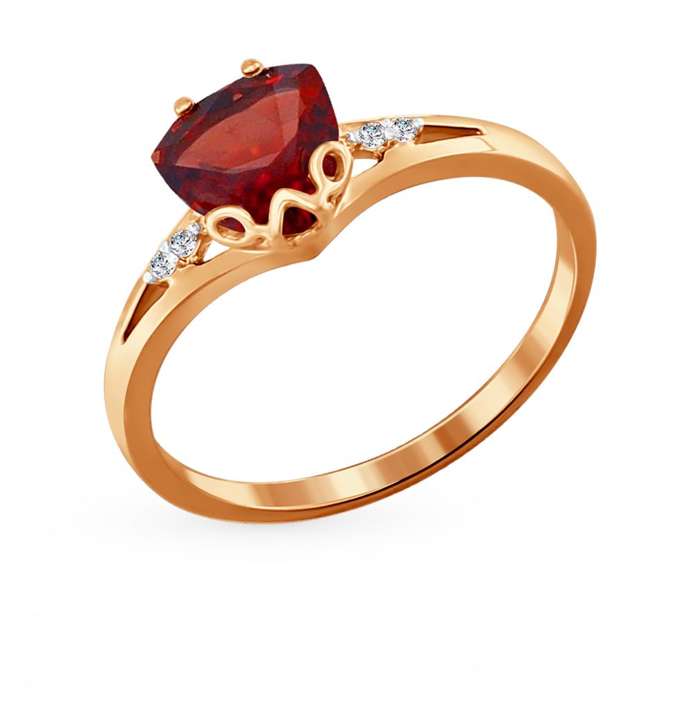 золотое кольцо с фианитами и гранатом SOKOLOV 713825*