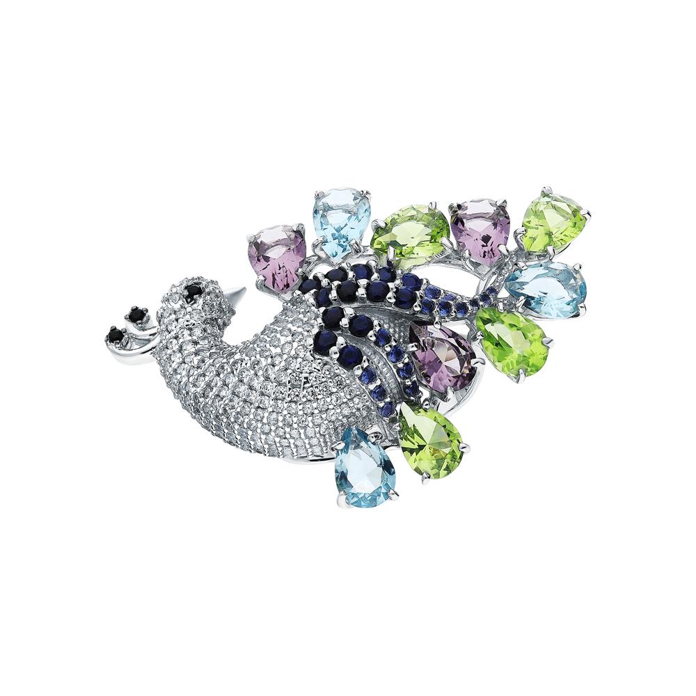 Фото «Серебряное кольцо с фианитами, хризолитами синтетическими, топазами имитациями и аметистами синтетическими»