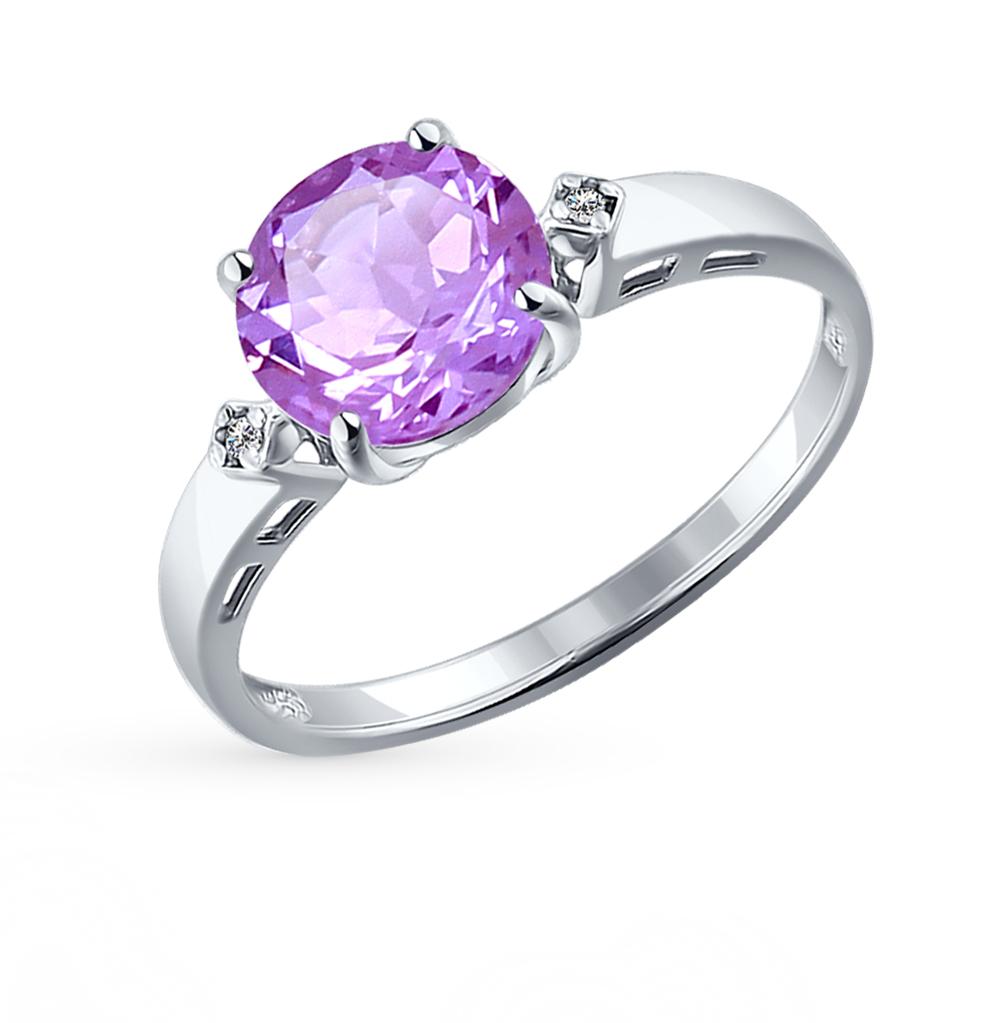 серебряное кольцо с аметистом и фианитами SOKOLOV 92011013